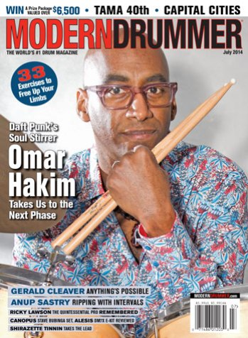 July 2014 Issue of Modern Drummer magazine Featuring Omar Hakim