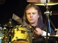 Drummer Phil Ehart of Kansas behind the drumkit