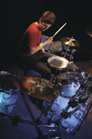 drummer Rob Bourdon playing