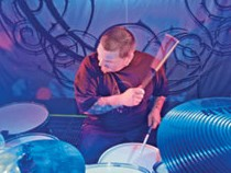 Drummer Rocky Gray of Evanescence beind his kit