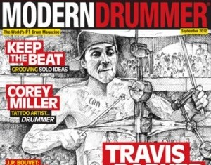 September 2012 Issue of Modern Drummer featuring Travis Barker