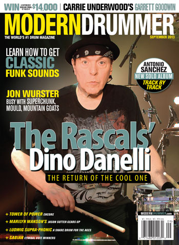 September 2013 Issue of Modern Drummer Featuring Dino Danelli of the Rascals