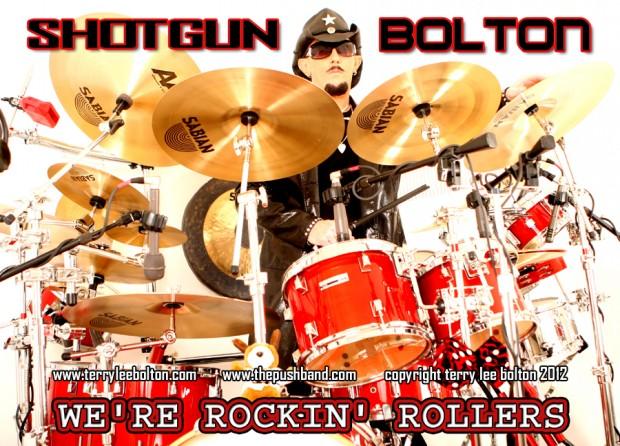 Drummer Terry Lee Bolton behind his drumkit