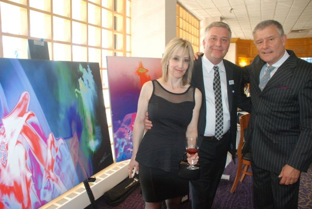 Carl Palmer with fans who purchased his art to aid Camp Good Days & Special Times (for children with cancer), the American Cancer Society, and the Child Advocacy Center of Philadelphia.