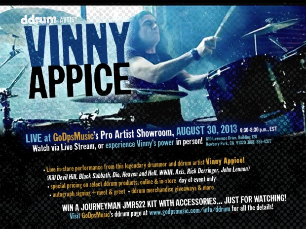 Vinny Appice to Conduct Free Drum Clinic and Performance