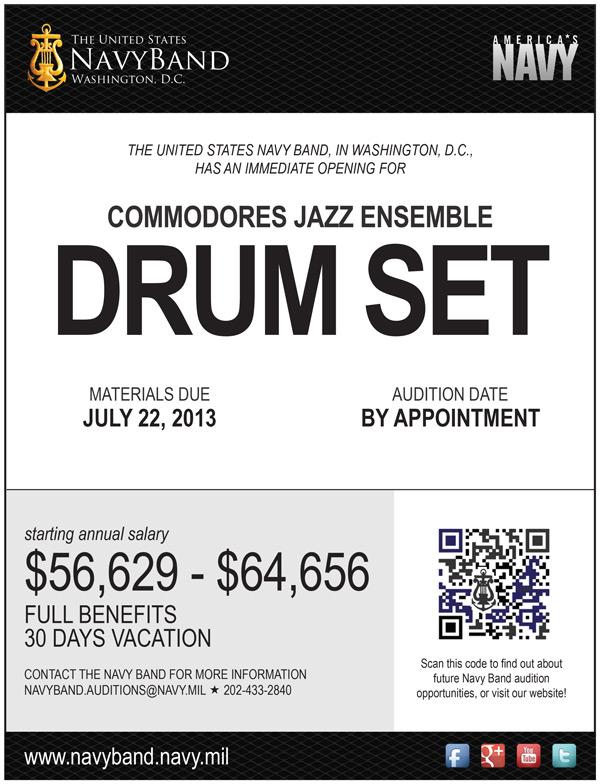 US Navy Band Commodores Jazz Ensemble Seeking Drummer