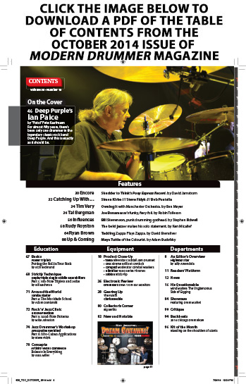 August 2014 Issue of Modern Drummer Table of Contents Featuring Shannon Leto
