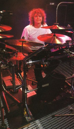 Def Leppard Drummer Rick Allen at his electronic kit