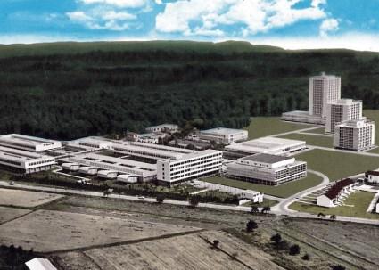 Dieburg, FH, Luftbild um 1970 (Bild: historische Postkarte, FH Dieburg, Archiv)