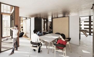 Entwurf für einen Hostel-Innenraum (Entwurf: Dennis Koehler, Norman Walla)