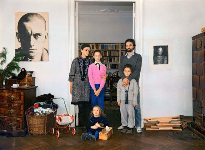 Harf Zimmermann: Berlin, Hufelandstraße, Beate und Matthias mit Patchworkfamilie, Weihnachten 1986 (Copyright: Harf Zimmermann)