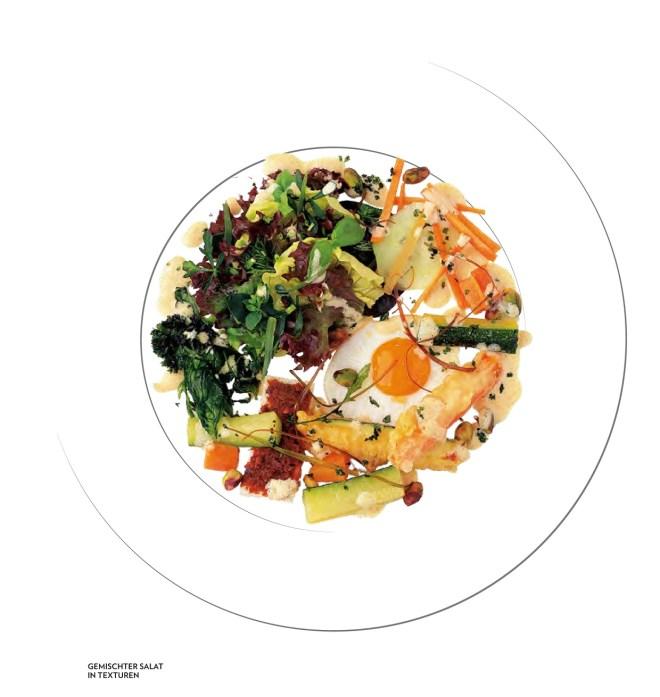 Gemischter Salat mit Texturen (Bild- und Rezeptquelle: Jürgen Dollase, Geschmacksschule, Foto: Peter Schulte für Tre Torri Verlag)