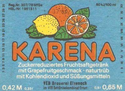 Karena, VEB Brauerei Eisenach (Bild: historisches Etikett)