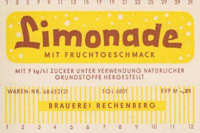 Limonade mit Fruchtgeschmack, Brauerei Rechenberg (Bild: historisches Etikett)