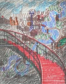 """Potsdam, Terrassenrestaurant """"Minsk"""", Wandvorhang an der Wendeltreppe, Entwurf: Ewgenij Djatlow (Bildquelle: Archiv BGANTD)"""