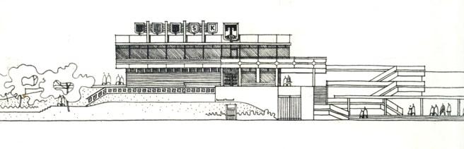 """Potsdam Terrassenrestaurant """"Minsk"""", Nordfassade, Entwurf: Ewgenij Djatlow (Bildquelle: Archiv BGANTD)"""