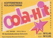 Cola-Hit, VE Brauhaus Sonneberg (Bild: historisches Etikett)