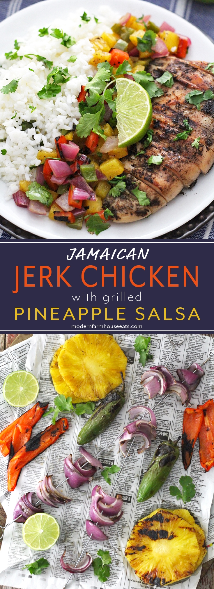 Island inspired Jamaican Jerk Chicken combines perfectly with grilled pineapple salsa and cilantro lime rice for a healthy and tasty dinner.