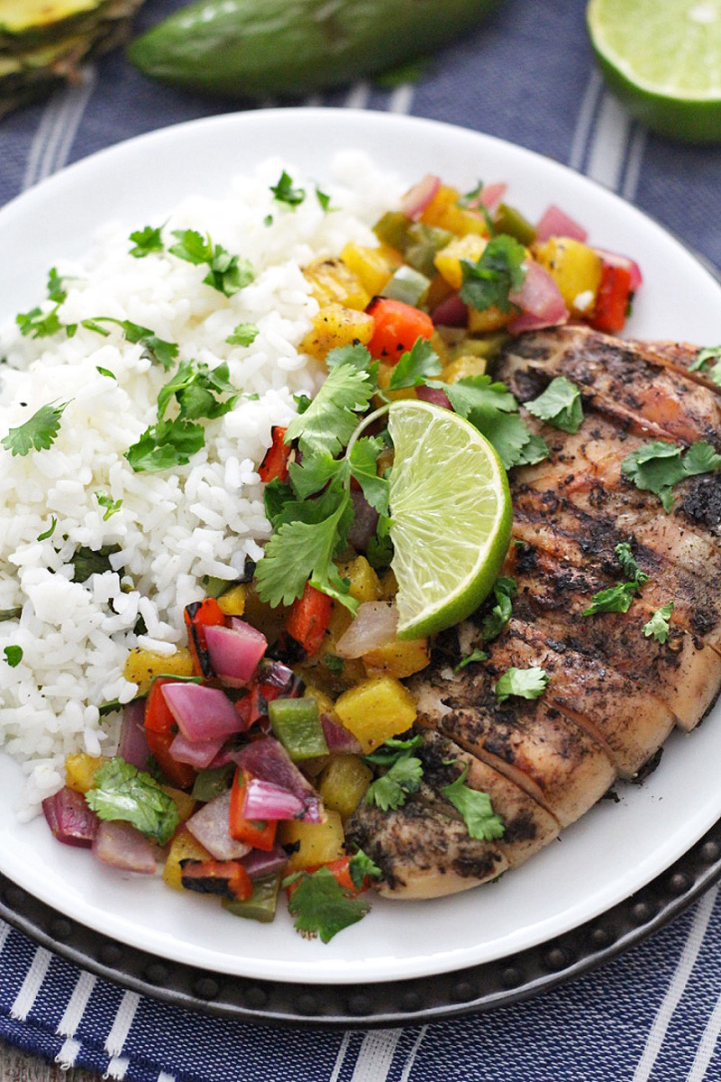 Jamaican Jerk Chicken with Grilled Pineapple Salsa