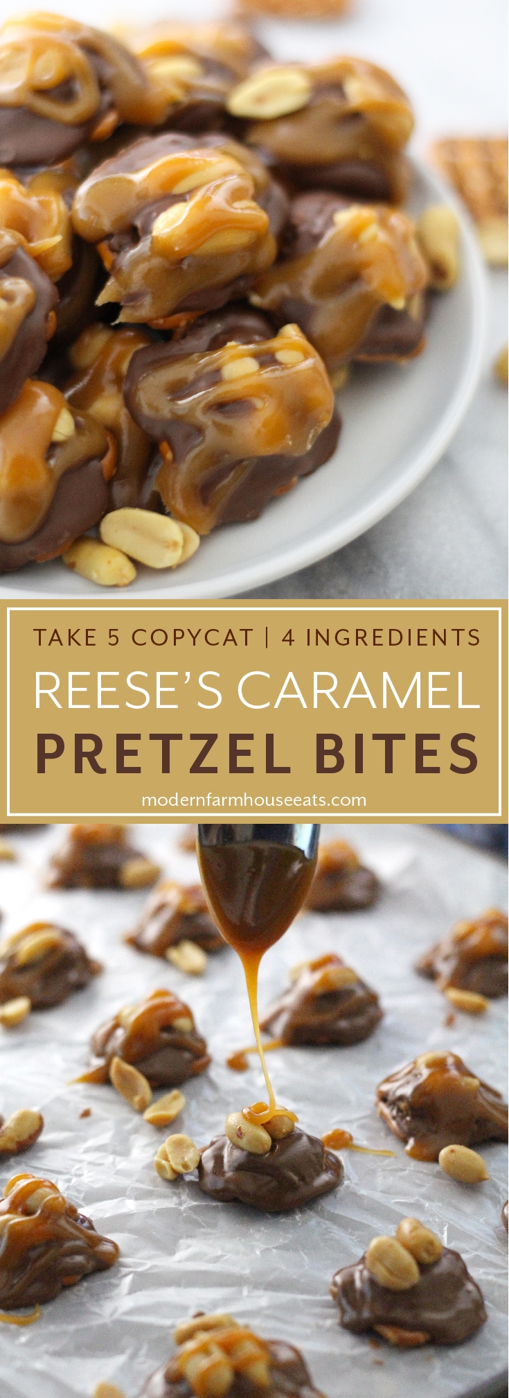 These sweet and salty Reese's Caramel Bites taste just like a Take 5 candy bar! They are quick and easy to make with only 4 ingredients.