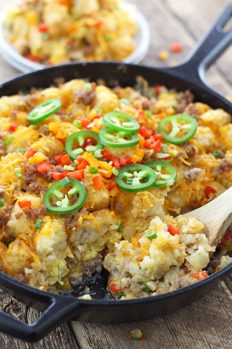 Next-Level Cheesy Breakfast Tator Tot Skillet