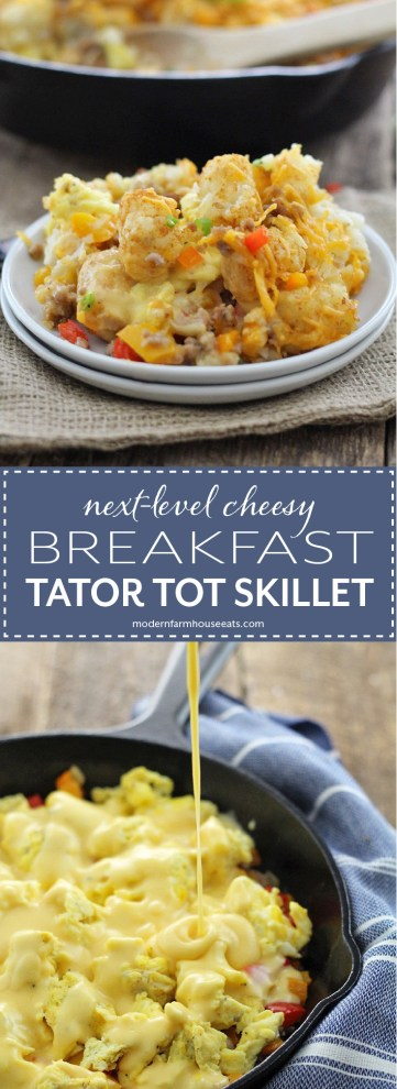 Easy and delicious breakfast tator tot hotdish made right in your skillet with creamy cheese sauce, maple breakfast sausage, eggs and lots of tots!