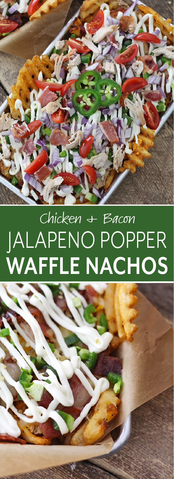 Chicken and bacon Jalapeno Popper Waffle Nachos