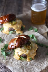 Beer Cheese Burger on Pretzel Bun