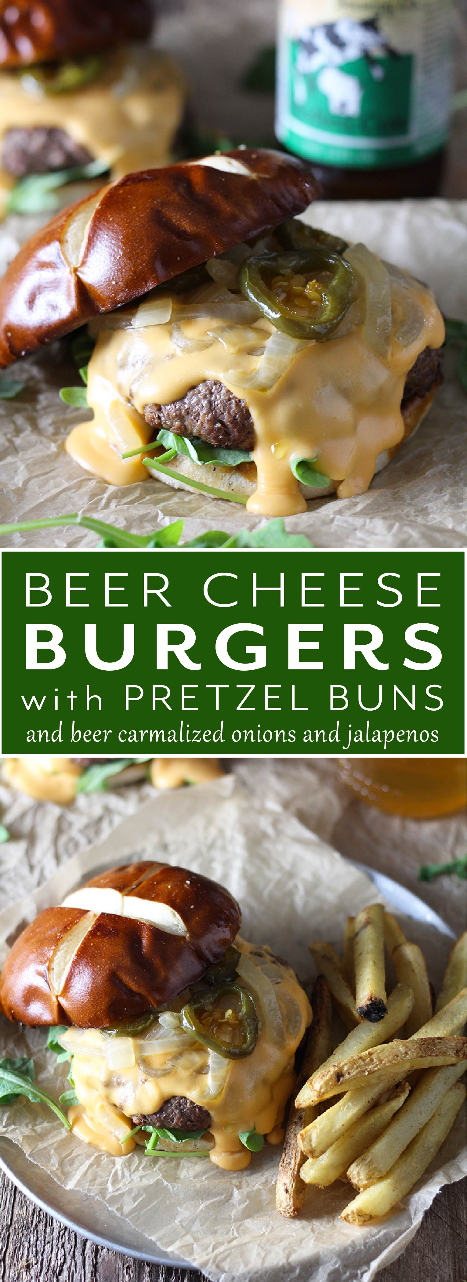 Beer Cheese Burgers on Pretzel Buns