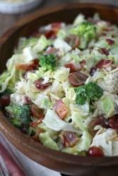 Lettuce, cauliflower, broccoli and bacon salad
