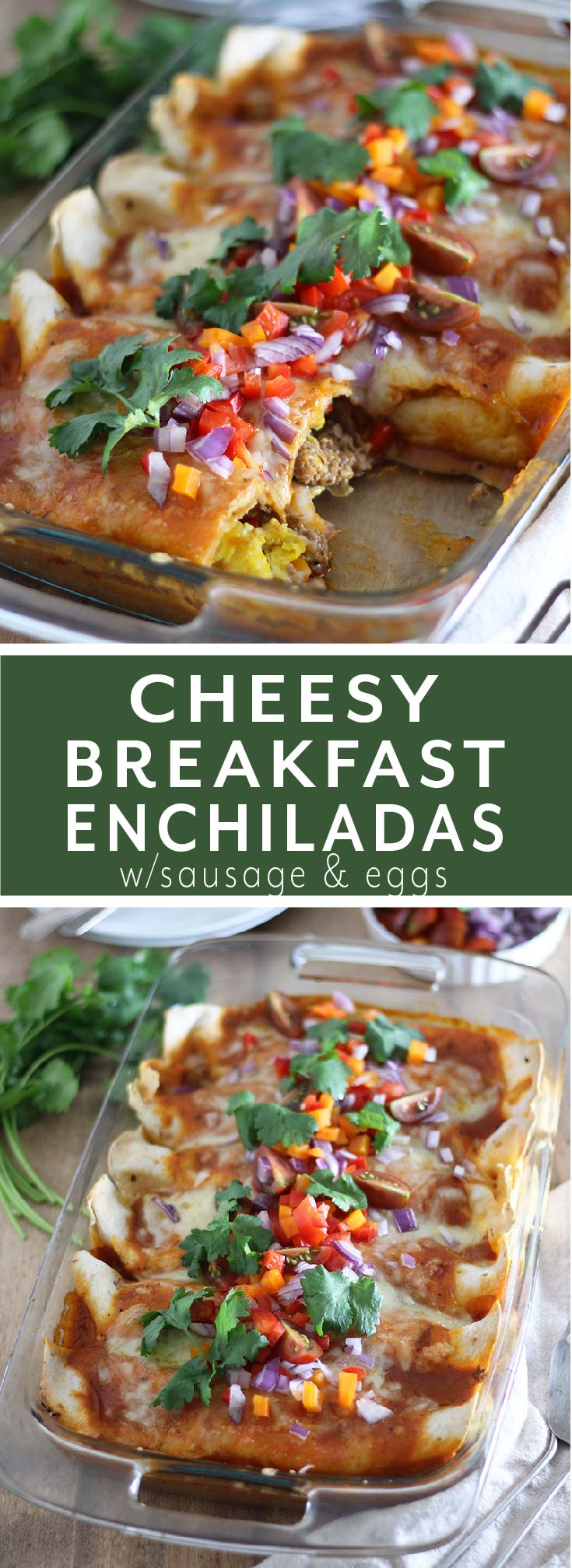 Saucy breakfast enchiladas filled with sautéed peppers and onion, sausage, scrambled eggs and lots of cheese. An easy and fun twist on breakfast.