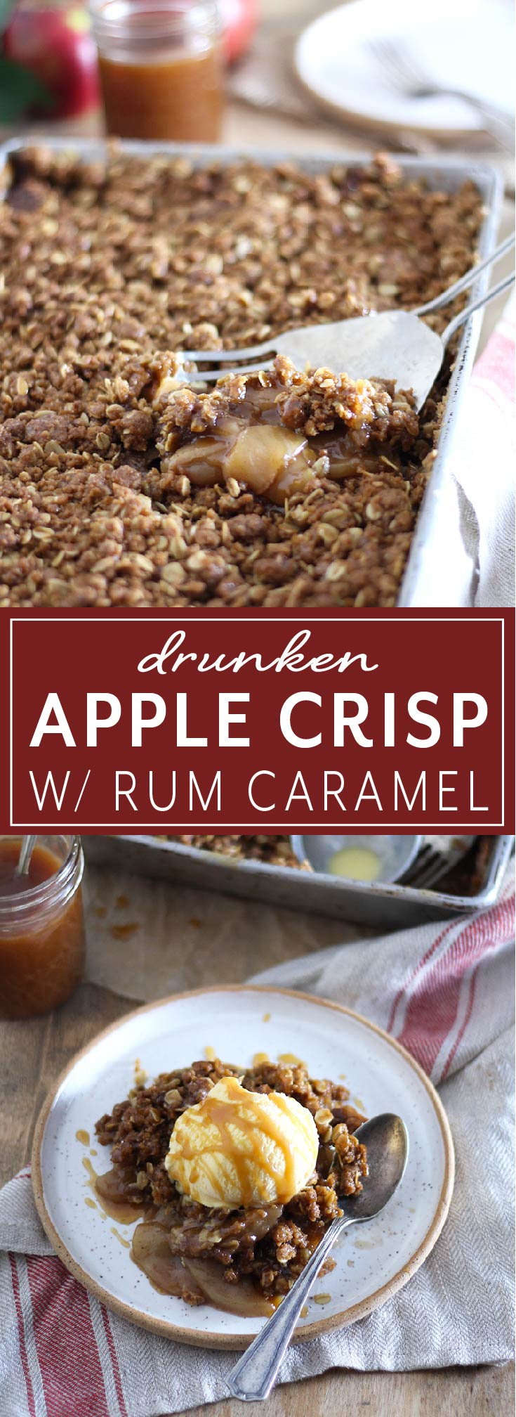 Drunken Apple Crispy with Rum Caramel