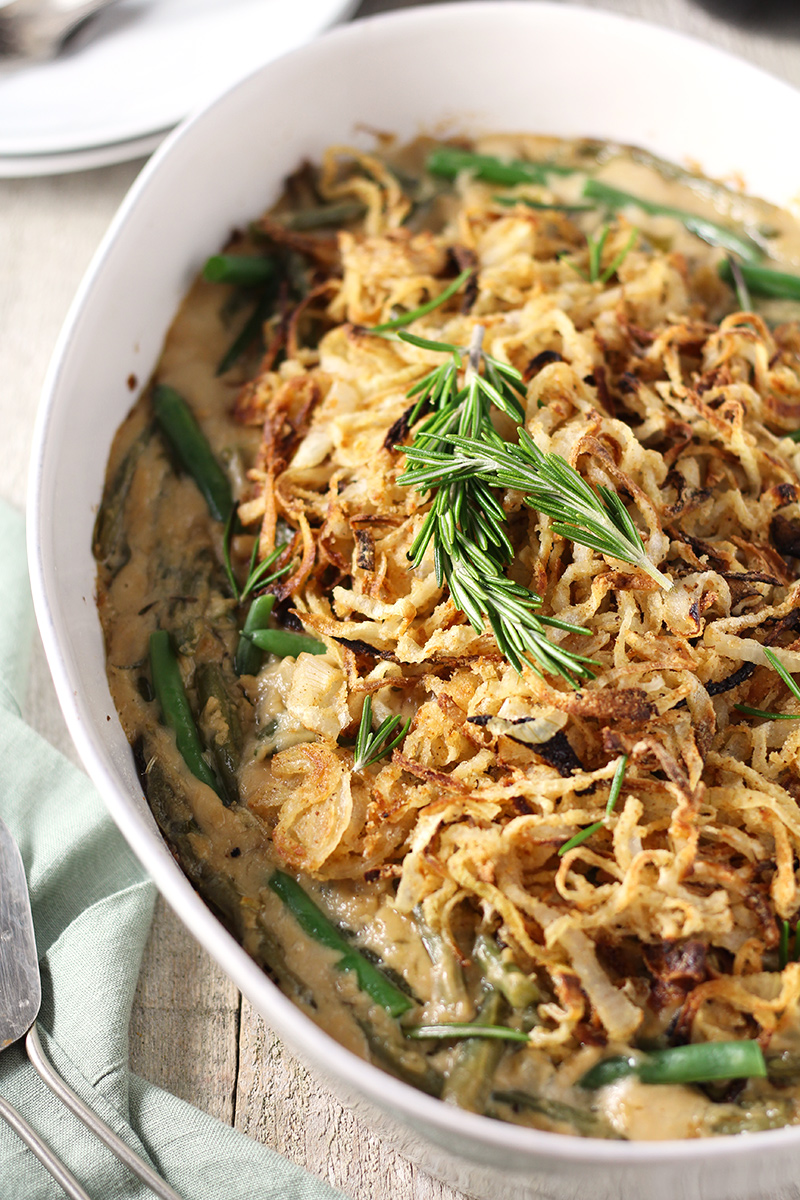 Green Bean Casserole with Rosemary Parmesan Gravy