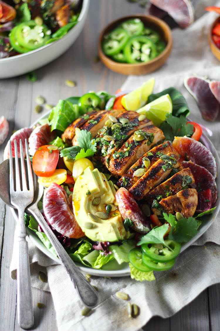 Chipotle Chicken and Blood Orange Salad with Honey Lime Dressing is my winter salad of choice. It's great for meal prep or an easy, healthy weeknight dinner. This salad is packed with lots of greens, veggies, protein and immune-boosting citrus fruit!