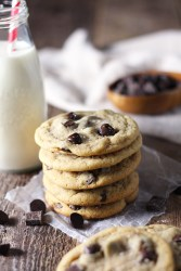 The chewiest, softest, most delicious chocolate chip cookies you will ever have. There's one (not so) secret ingredient that makes these cookies perfect. You'll never need another chocolate chip cookie recipe again.