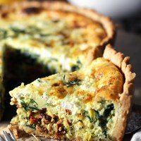 Leek, Sun-Dried Tomato and Goat Cheese Deep Dish Quiche