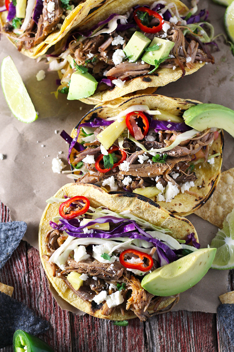 Pork Carnitas Tacos with Spicy Pineapple Slaw