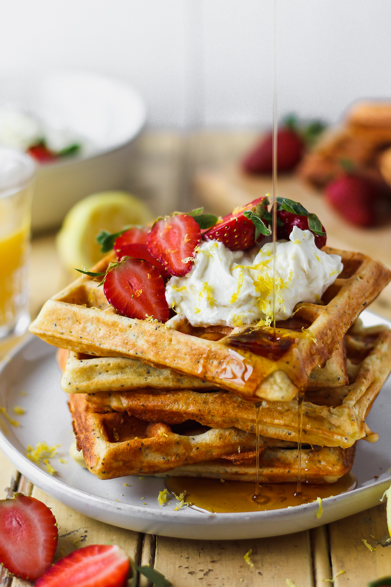 Lemon Poppy Seed Waffles with Whipped Honey Lemon Cream