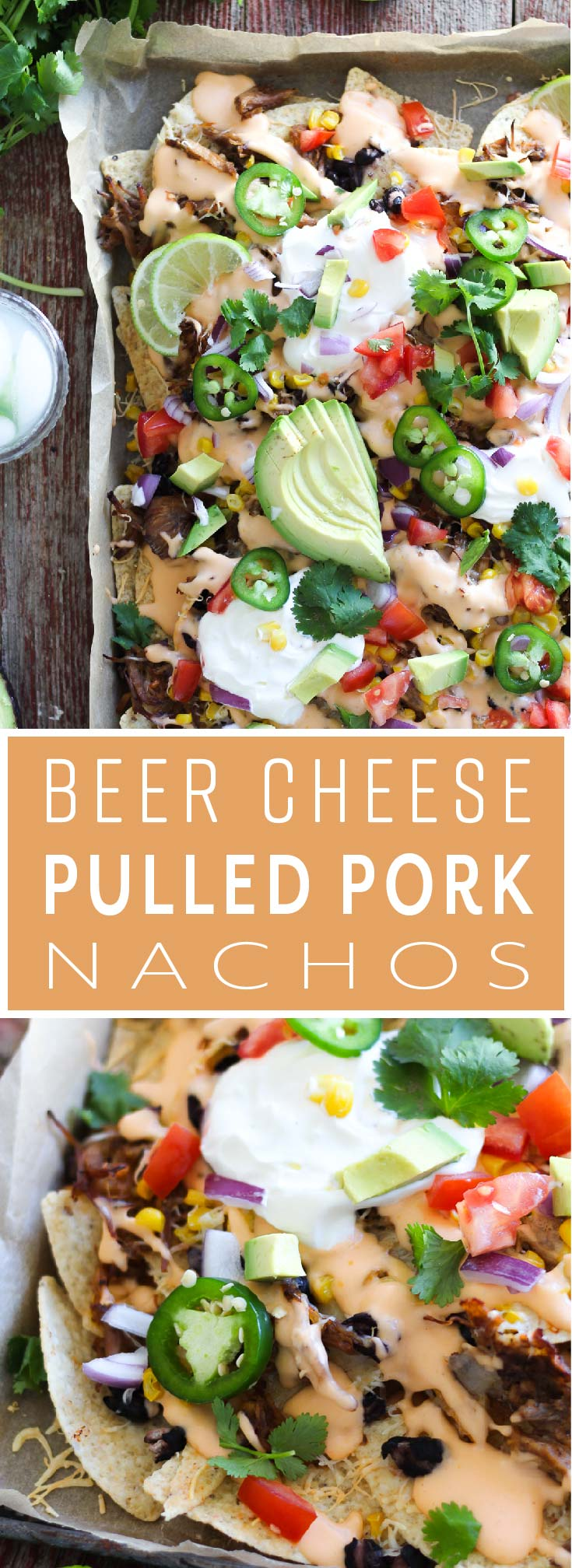 Mouthwatering, easy-to-make sheet pan nachos that are perfect for any party! Your favorite tortilla chips covered with pulled pork and black beans and smothered in beer cheese sauce and loaded with toppings!
