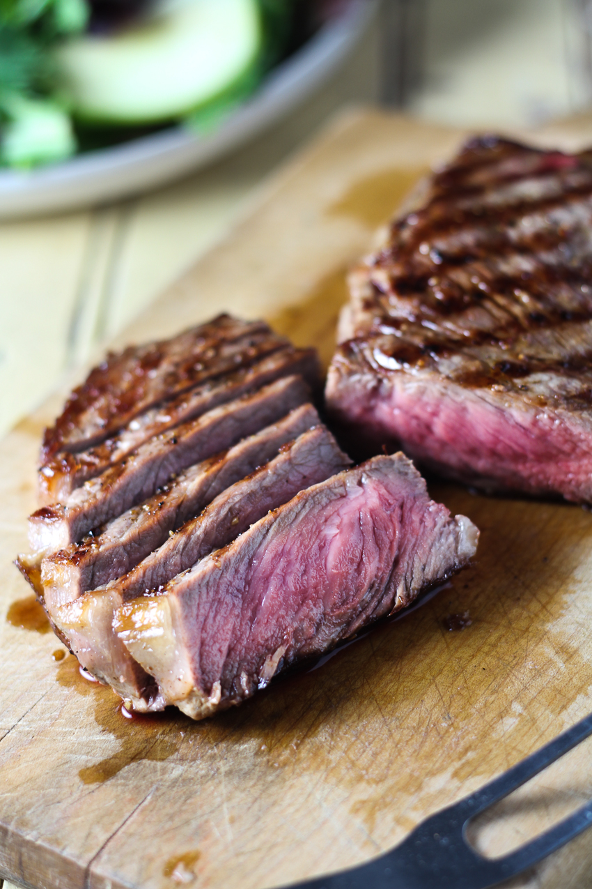grilled and sliced steak