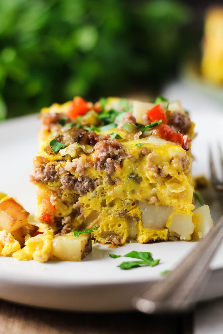 slice of breakfast casserole