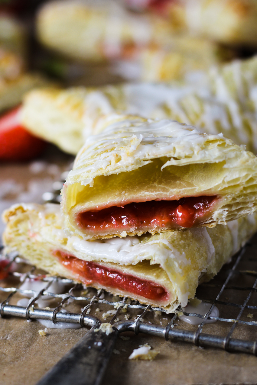 strawberry rhubarb turnover cut in half