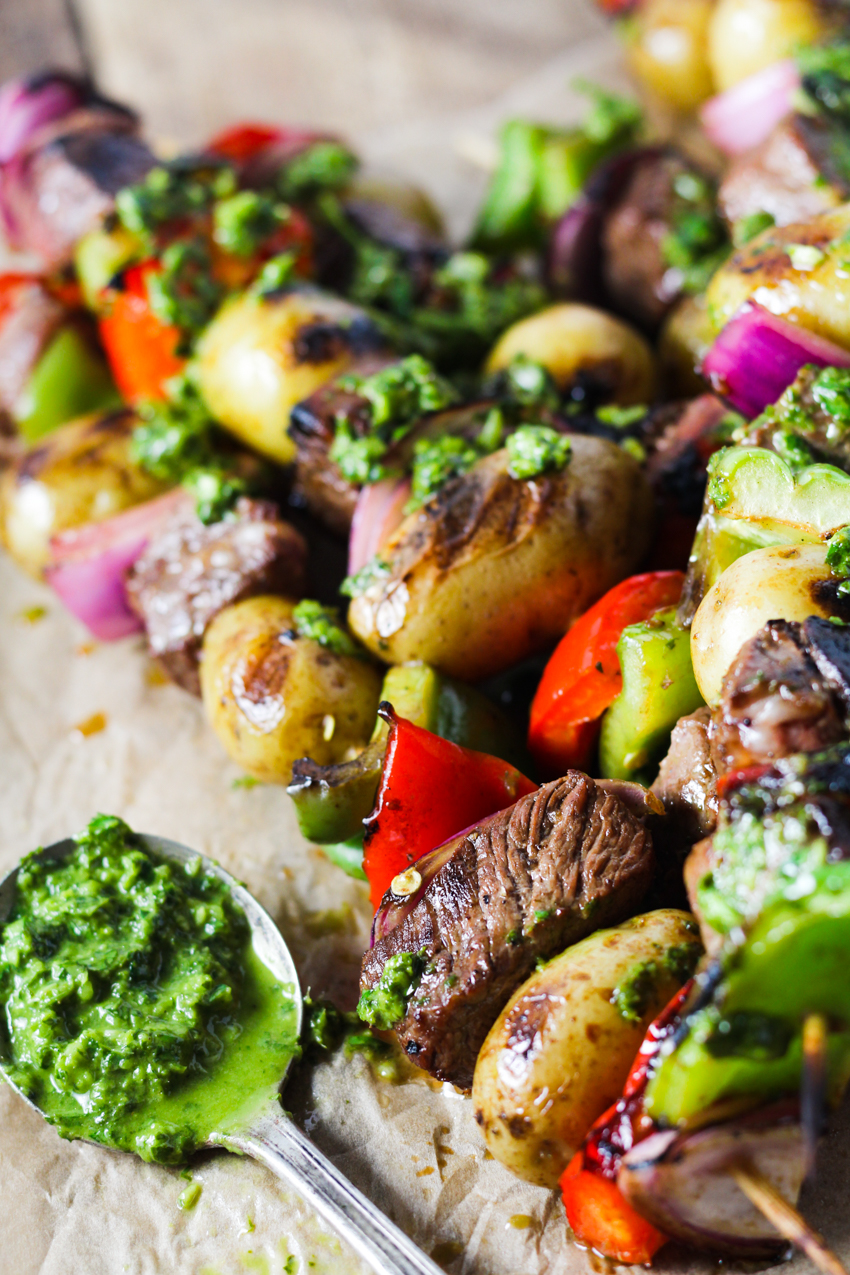 steak and potato kabobs served with chimichurri sauce
