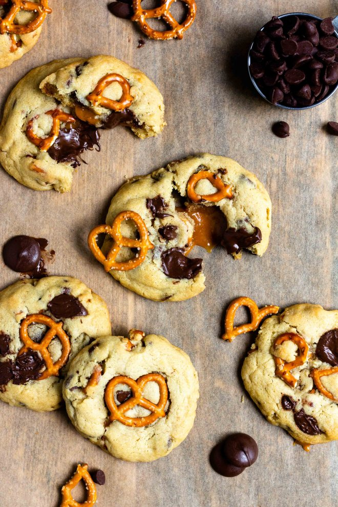caramel filled chocolate chip cookies with pretzels