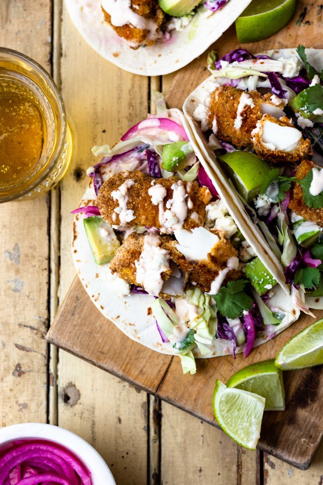 baked fish tacos with cilantro lime slaw