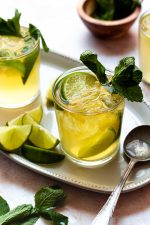 Everything you love about a mojito but with ginger and whiskey! Mint and lime muddled together and mixed with Irish whiskey and ginger beer to create a tasty and refreshing drink for St. Patrick's Day or any day!