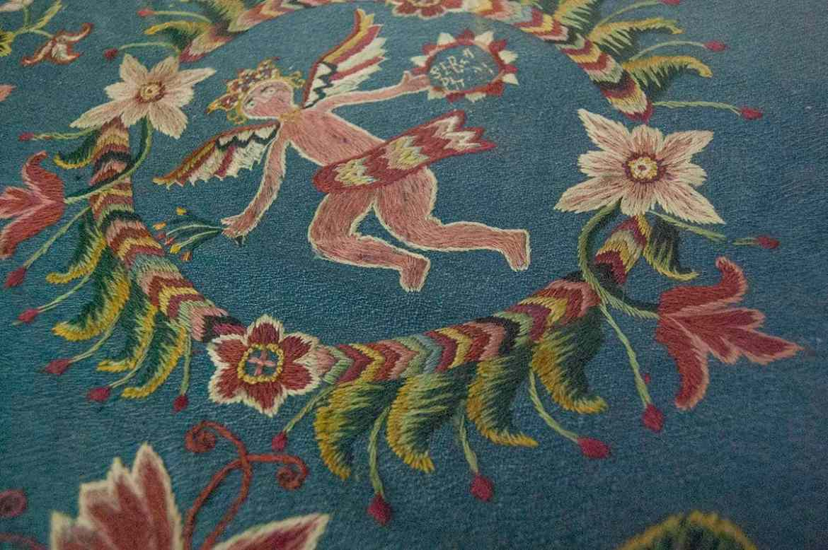 Wool embroidery at the Nordiska Museet, Stockholm