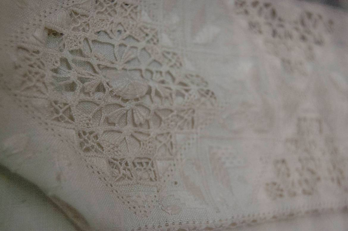 Open whitework embroidery at the Nordiska Museet, Stockholm