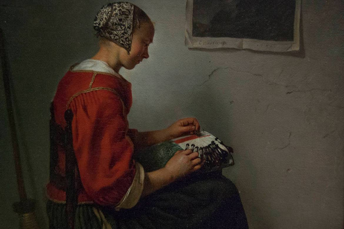 The Lace Maker by Caspar Netscher, at the Wallace Collection, London