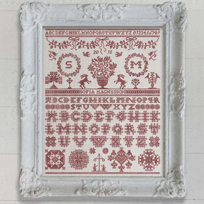 Midsummer Sampler - Original cross stitch embroidery pattern chart by Modern Folk Embroidery